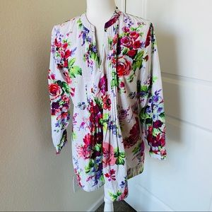Soft Surroundings Floral Pin Tuck Tunic